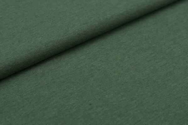 Baumwoll-Jersey uni graugrün meliert