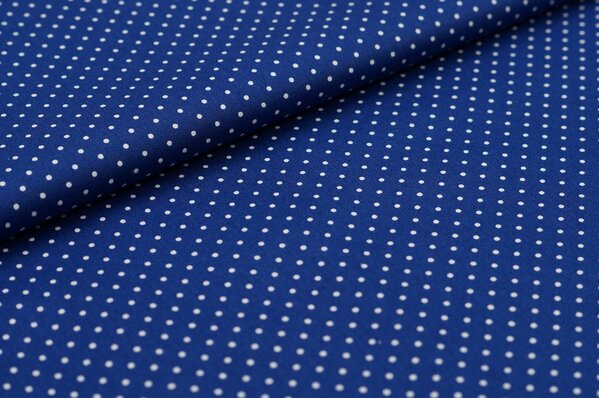 Baumwollstoff Baumwolle blau mit kleinen weißen Punkten