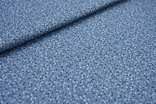 Baumwoll-Stoff mit kleinen Punkten taupe blau / grau / dunkelblau / weiß