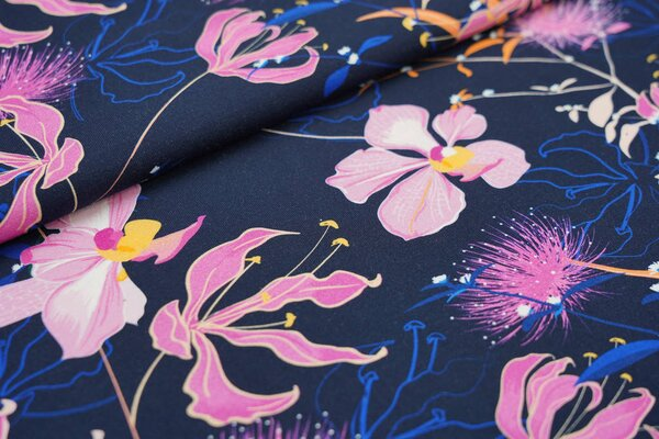 Traumbeere Baumwoll-Jersey Digitaldruck Blumen Orchideen sehr dunkelblau / rosa / blau