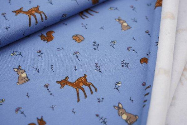 Kuscheliger Baumwoll-Sweat kleine Tiere und Blumen auf hellblau Reh Igel Hase