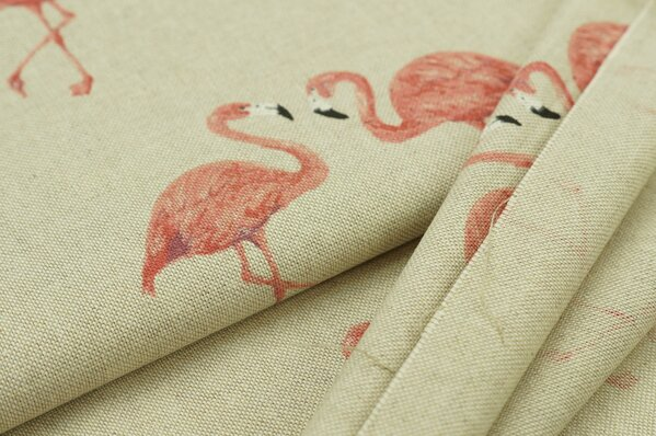 Dekostoff in Leinenoptik natur mit Flamingos