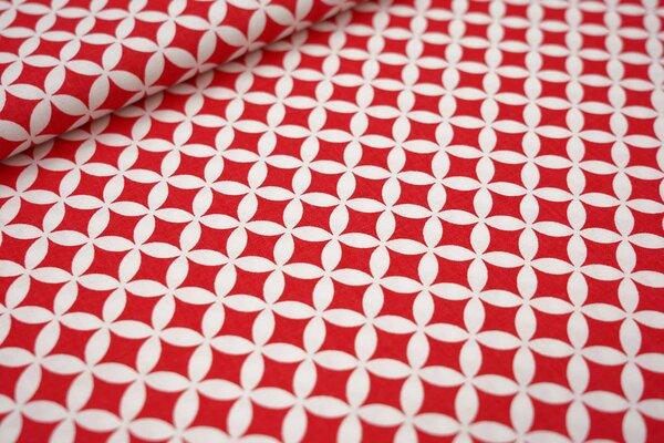 Baumwollstoff Fantasy Kreis Muster rot / weiß maritime Baumwolle