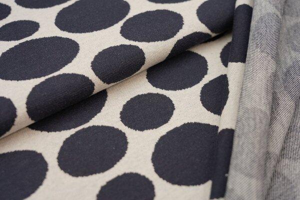 Jacquard-Jersey große Kreise Punkte Tupfen schwarz auf off white