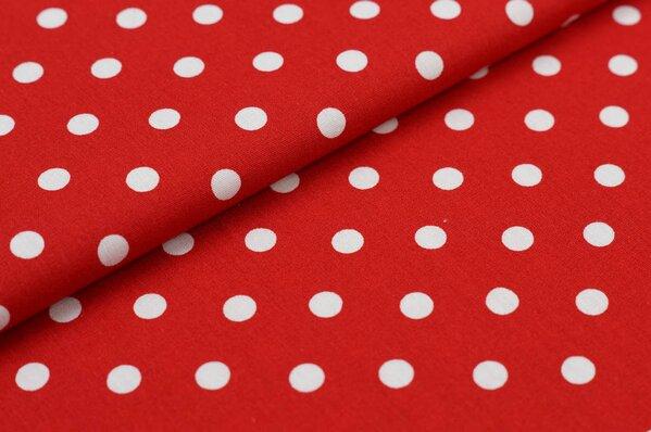 Baumwollstoff Baumwolle rot mit großen weißen Punkten