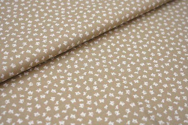 Baumwollstoff Baumwolle beige mit kleinen weißen Schmetterlingen