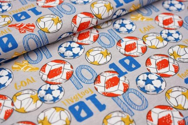 Interlock Jersey Fußbälle Fußballschuhe hellgrau / blau / orange / ocker / weiß