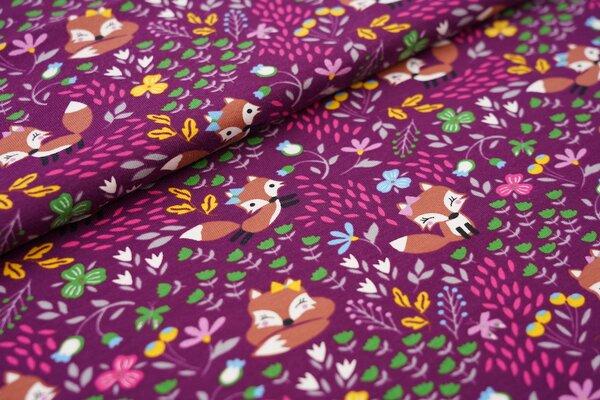 Baumwoll-Jersey Füchse Blumen und Schmetterlinge auf aubergine lila Fuchs