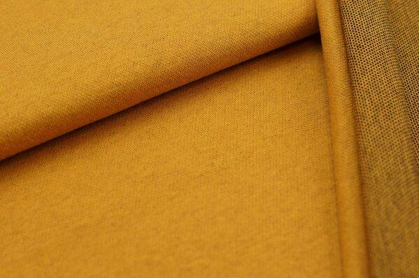 Jacquard-Sweat Ben senf Uni mit senf und schwarzer Rückseite