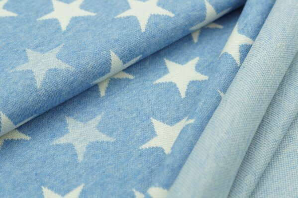 Jacquard-Sweat Mia off white Sterne auf pastell jeansblau Melange