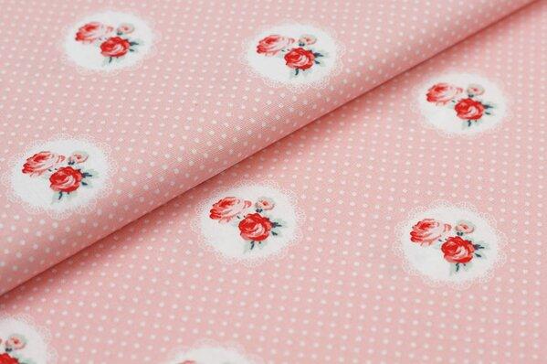 Baumwollstoff Baumwolle Rosen Blumen im Kreis mit Punkten auf lachsrosa
