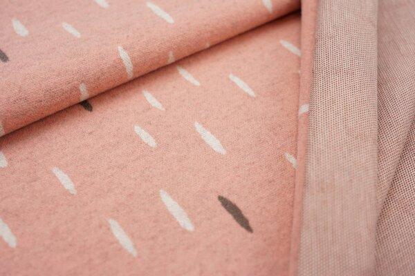 Jacquard-Jersey off white und taupe braune ovale Tropfen auf lachs