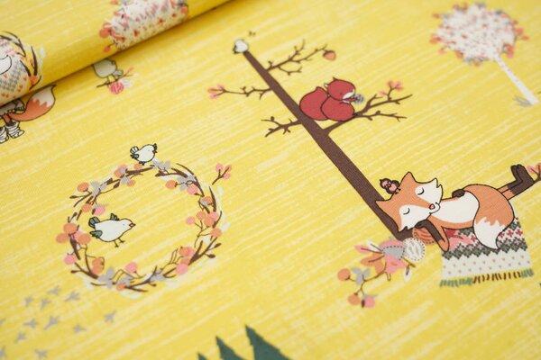 Baumwoll-Jersey Waldtiere und Bäume auf gelb Fuchs Waschbär Eichhörnchen