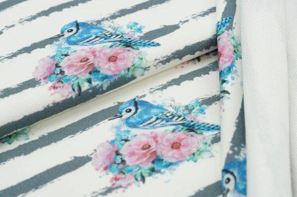 Baumwoll-Sweat Digitaldruck Streifen Vögel Blumen off white / grau