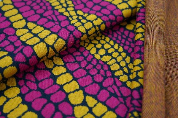 Jacquard-Sweat Ben Schlangenhaut Design amarant pink / navy blau / senf