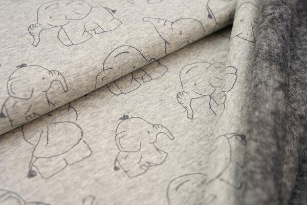 Kuscheliger Happy Fleece Alpenfleece Elefanten auf hellgrau meliert melange Kuschelsweat