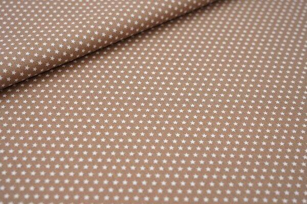 Baumwollstoff Baumwolle hellbraun mit kleinen weißen Sternen