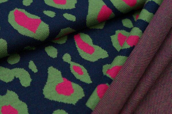 Jacquard-Jersey XXL Leoparden Muster navy blau / grün / amarant pink