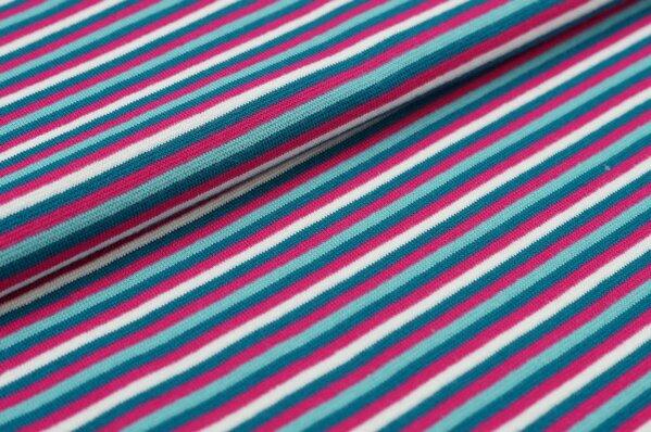 Ringelbündchen bunte Streifen amarant pink / petrol / eisblau / off white