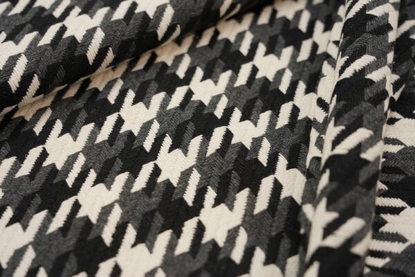 Mantelstoff mit großem Hahnentritt-Muster dunkelgrau / schwarz / creme
