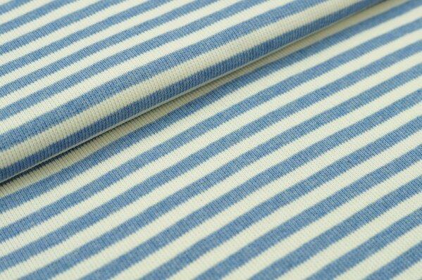 Ringelbündchen Maya pastell jeansblau Melange / off white Streifen