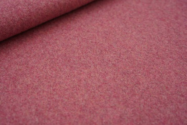 Dicker kuscheliger Baumwoll-Fleece Stoff uni bordeaux rot meliert