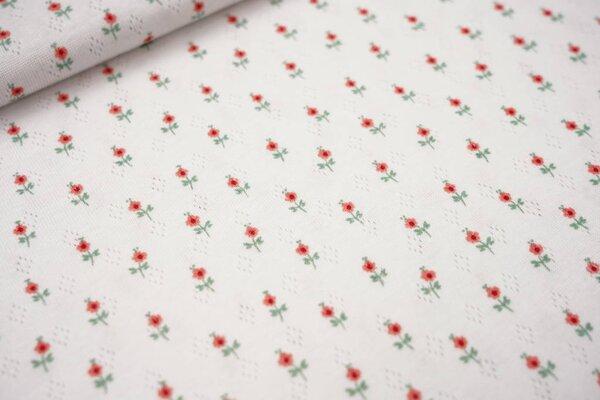 Feinstrick-Jersey mit Lochmuster kleine Blumen auf weiß