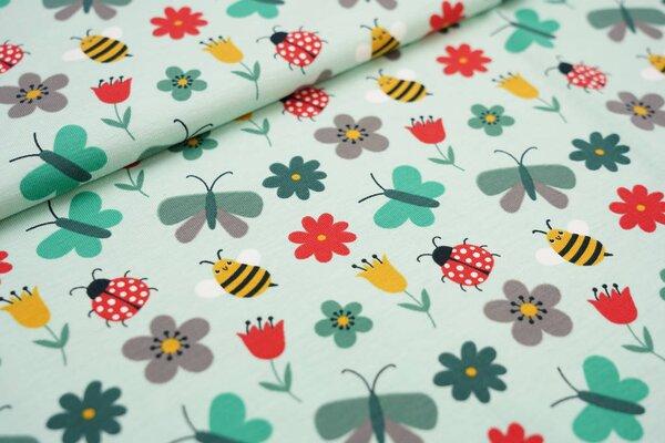 Baumwoll-Jersey Bienen Marienkäfer Schmetterlinge Blumen auf mint