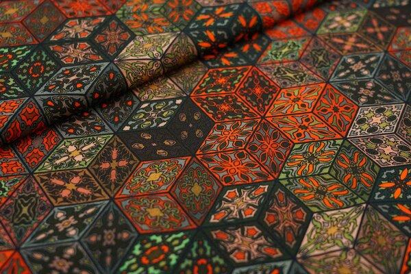 Baumwoll-Jersey Retro Blumen Muster Würfel-Blöcke grün / orange / braun