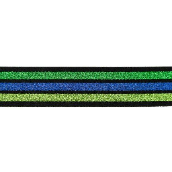 Schwarzes Gummiband mit 3 Glitzer Streifen grün kobaldblau hellgrün 40 mm breit