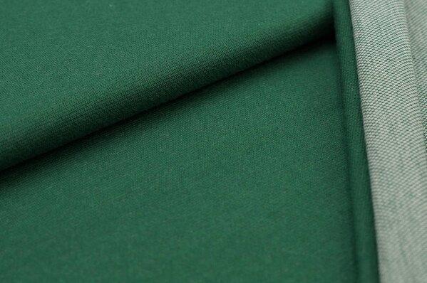 Jacquard-Sweat Ben dunkelgrün Uni mit dunkelgrüner und off white Rückseite
