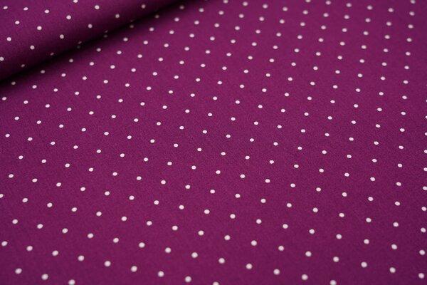 Baumwollstoff kleine weiße Punkte auf violett
