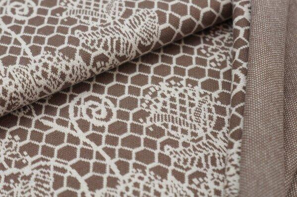 Jacquard-Sweat Ben off white Blumen Muster auf taupe braun