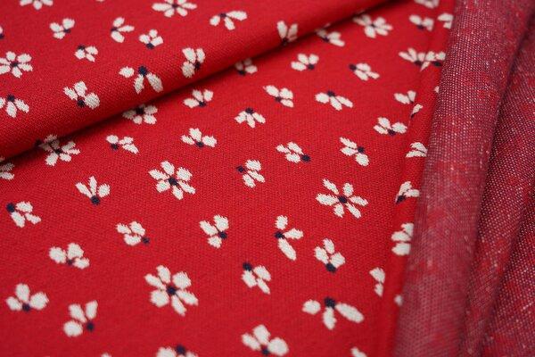 Jacquard-Sweat Ben mit kleinen Blümchen rot / off white / navy blau Blumen