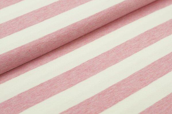 XXL Jersey Maya Streifen Ringel breit pastell pink melange / off white