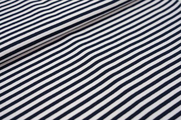 Glattes Ringelbündchen Streifen dunkelblau / weiß 5 mm