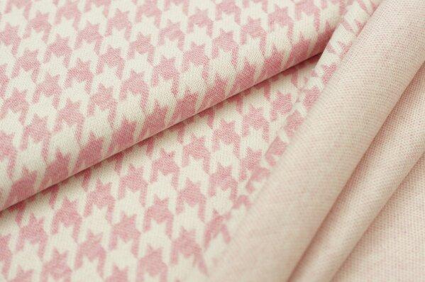 Jacquard-Sweat Mia mit Hahnentritt Muster pastell pink Melange und off white
