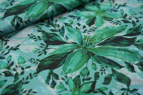 Digitaldruck Viskose-Jersey mit Blumen grün