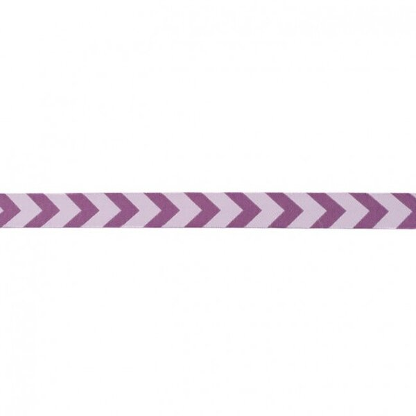 Webband Zierband mit Pfeilen hell lila / violett 15 mm
