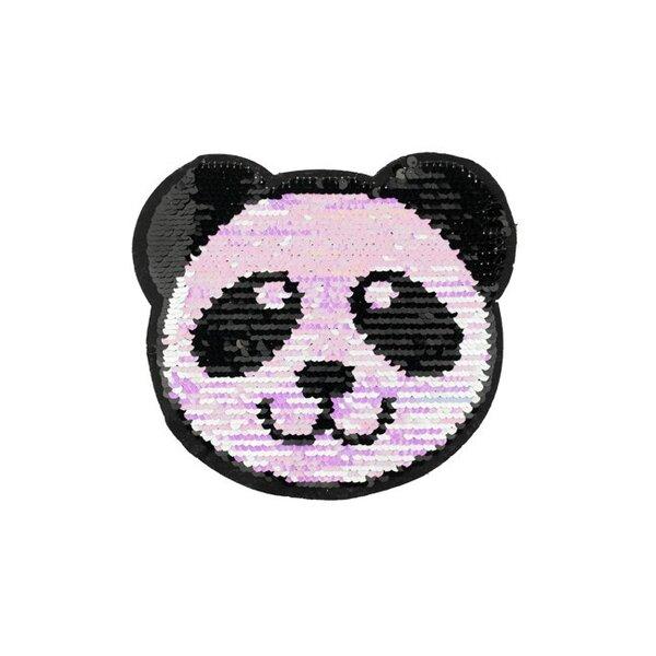 Applikation Pandakopf irisierend Pandabär Aufnäher mit Wendepailletten