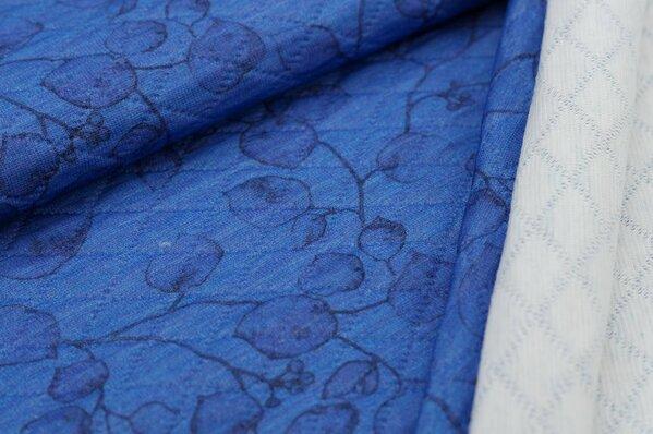 Stepp-Stoff Digitaldruck Blätter blau / lila melange mit dunkelblau / schwarz