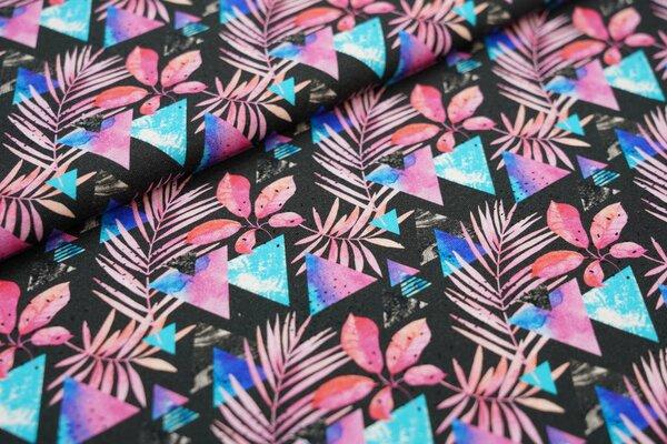 Baumwoll-Jersey Digitaldruck Blätter Dreiecke Pünktchen schwarz / rosa / türkis