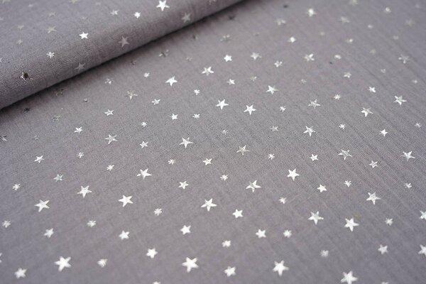 Musselin Stoff Double Gauze uni silbergrau mit silbernen Sternen
