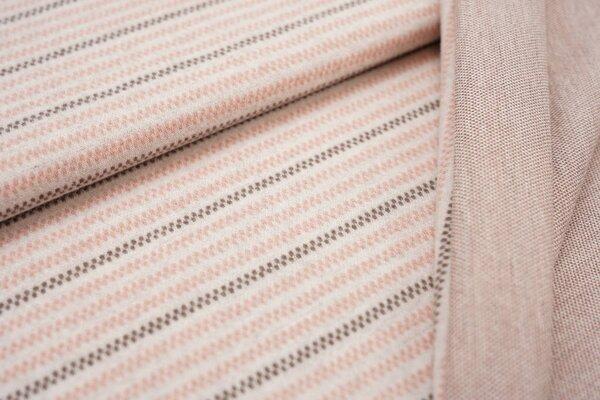 Jacquard-Jersey Linien Muster Streifen off white / taupe braun / lachs