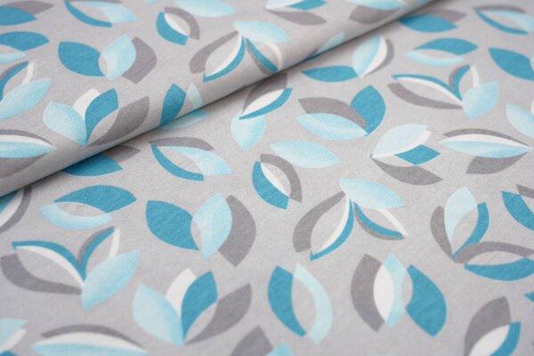 Interlock Jersey grafisches Blätter-Muster hellgrau / hellblau / petrol / weiß
