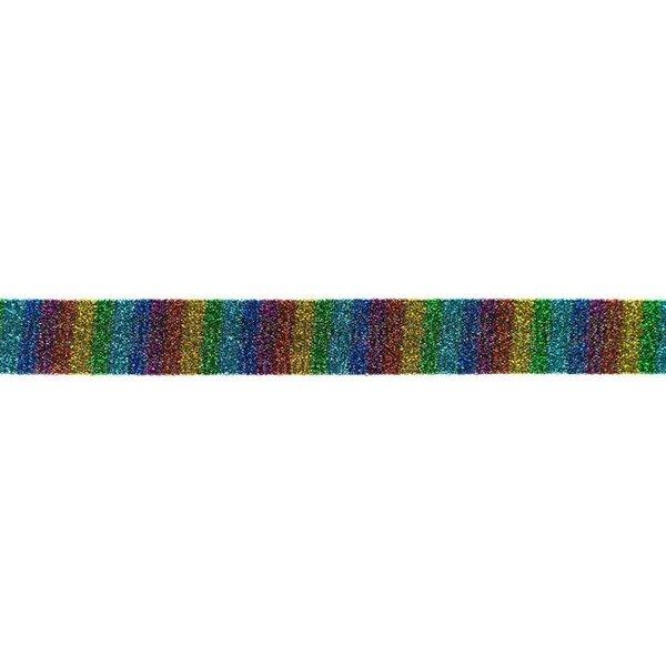 Glitzer Schrägband mit Blöcken in Regenbogenfarben 20 mm Zierband Glitzerband