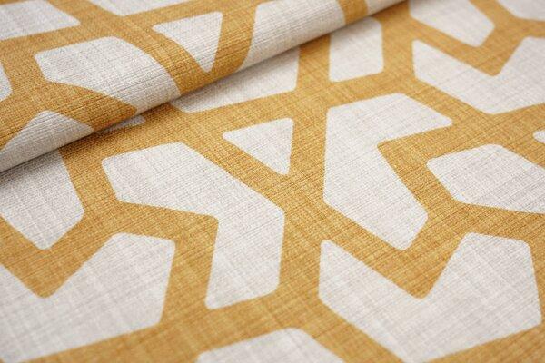 Canvas-Stoff Dekostoff großes geometrisches Muster hell beige / gelborange