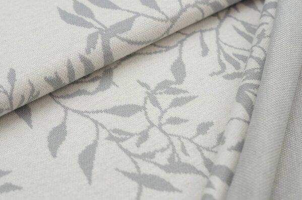 Jacquard-Sweat Ben hellgraue Blätterranken auf off white