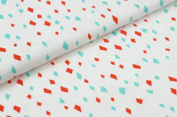 Baumwoll-Jersey Digitaldruck Rauten rot eisblau auf off white