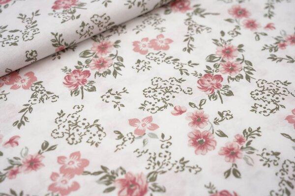 Sommer T-Shirt-Stoff / leichter Jersey Blumen in grün und rosa auf weiß